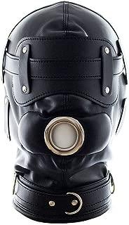 MAMOHSS Unisex Leather Punk Gothic Full Face Mask Hood Zipper Eyes Mouth Lace Up Back Halloween Costume Helmets