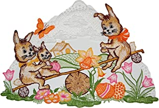 Farbenfrohes Fensterbild Osterhase mit Korb Plauener Spitze Fensterdeko Ostern