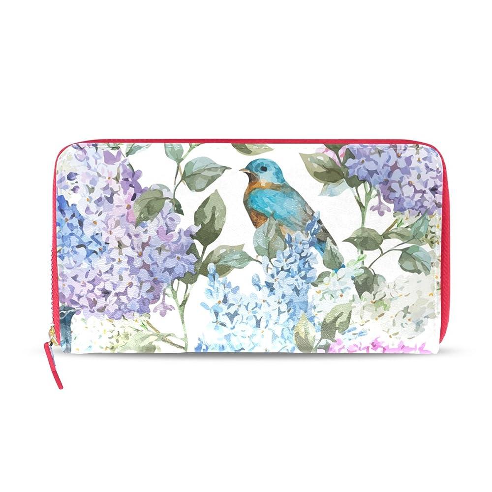 不均一リーフレット資格AOMOKI 財布 レディース 長財布 シナフジ 紫 ピンク 鳥 カラー ラウンドファスナー PUレザー 大容量 二つ折り 幅20*丈11cm