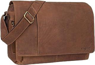 STILORD Vintage Umhängetasche Leder groß für Herren Damen 15.6 Zoll Laptoptasche Unitasche Bürotasche Moderne Aktentasche aus echtem Büffelleder