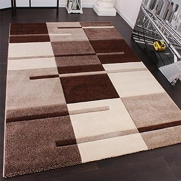 Karo Patchwork Teppich braun beige Velours umkettelt 200x350 Teppichboden
