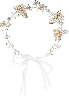 Dreamstar Rhinestone Crystal Wedding Bridal Floral Leave Headband Hair Vine Tiara with Ribbon Belt