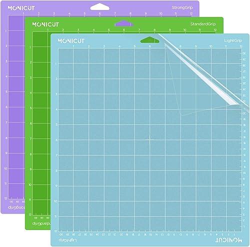 Monicut 12x12 Cutting Mat for Cricut Maker 3/Maker/Explore 3/Air 2/Air/One(Lightgrip, Standardgrip, Stronggrip), 3 Pc...