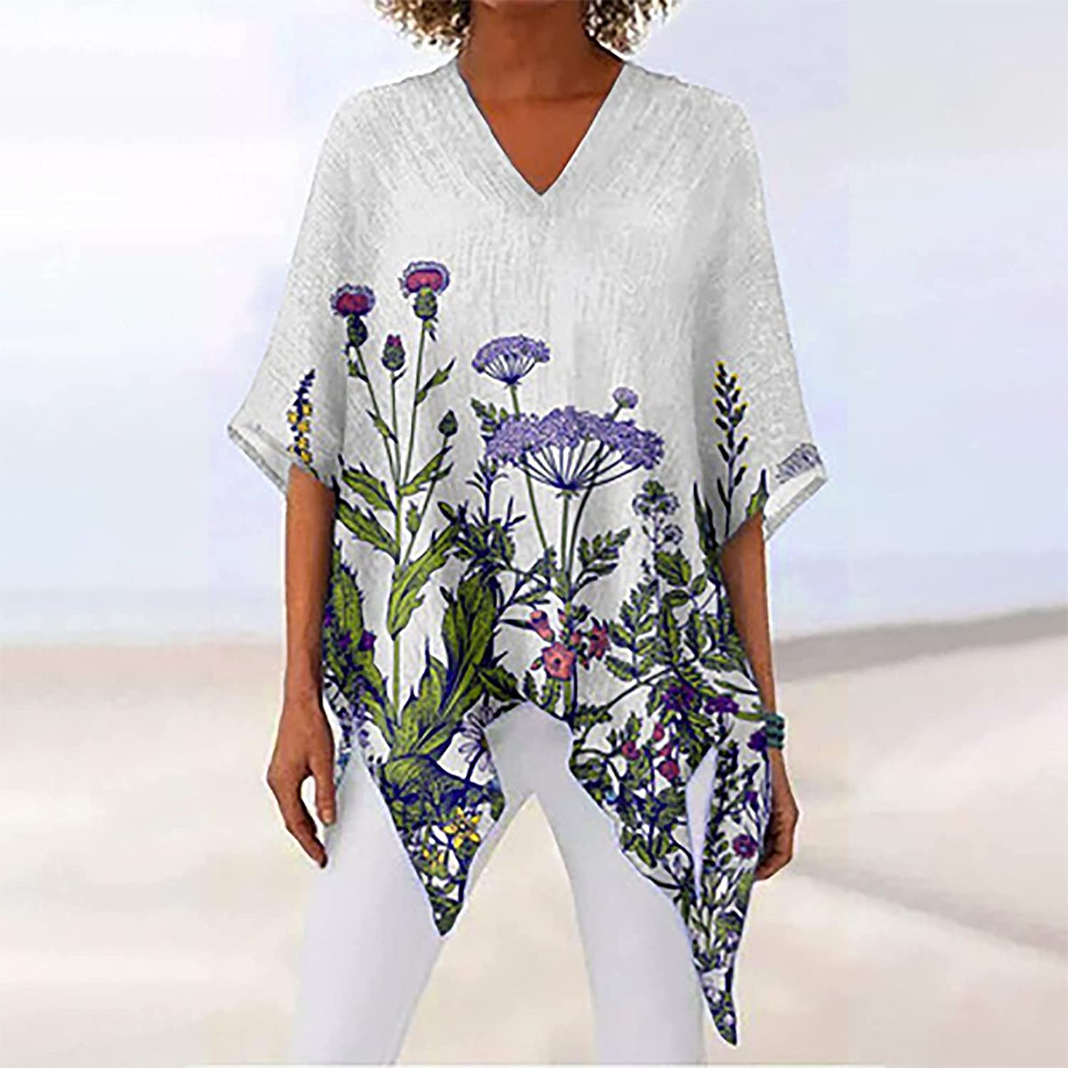 Women's Linen Plus Size Shirt Pullover Tunic Tops V Neck 3/4 Sleeve Floral Graphic Asymmetry Tees Blouse Top Tshirt