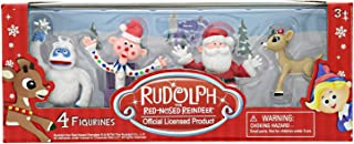Rudolph The Red Nosed Reindeer Christmas Figurines – 4 Pieces, 2 Inch Plastic Figurine Set – Includes Santa, Clarice, Bumble, Charlie – Ideal for Holiday Decorating, Cake Toppers and Playtime
