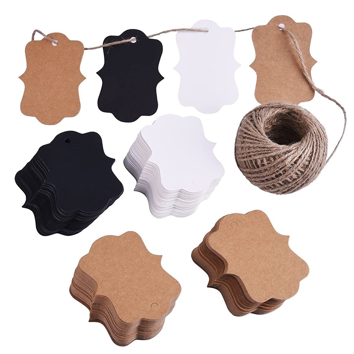 ABUFF 200 PCS Hanging Labels, Kraft Gift Tags, Craft Paper Tags, Blank Paper Tags Hole 30M Twine, Brown Black White