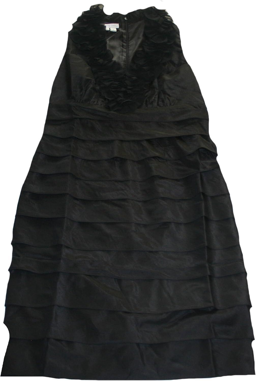 London Times Womens Tiered Taffeta Dress