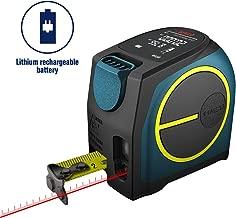 Laser Tape Measure 2-in-1,laser measurement 131Ft silent laser range finder USB rechargeable color LCD display, measuring distance, IP54 waterproof standard, tape length 16Ft, Nylon Coating for DIY