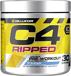 C4 Ripped Pre Workout Powder Icy Blue Razz | Creatine Free + Sugar Free Preworkout Energy Supplement for Men & Women | 150...