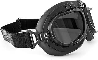 Vintage Aviator Motorcycle Goggles - Mat Black - Anticrash Lenses by Bertoni Italy - AF195C Smoke Lens