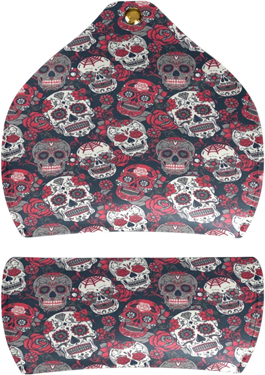 Floral Skull gift Goggles Bag Sunglasses Case Eyeglasses Pouch Portable Multiuse PU Leather