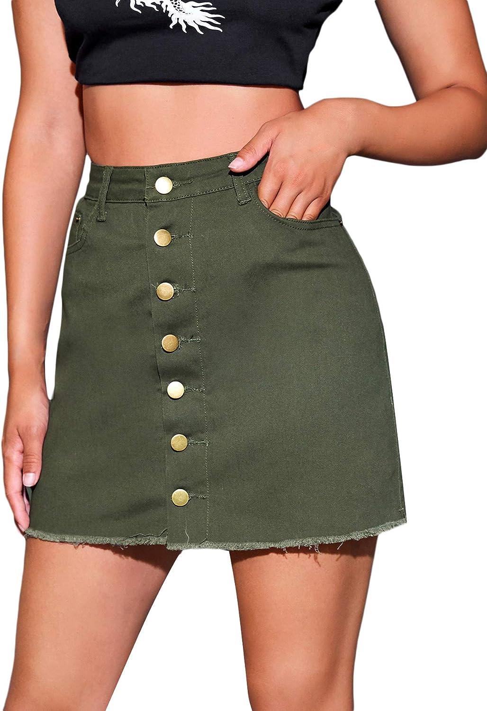 Milumia Women's High Waist Button Front Raw Hem A Line Mini Demin Skirts with Pockets