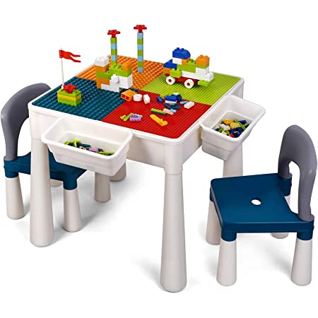 XCSOURCE 5 in 1 Kids Table and Chair Set,Multi Play Table and Building Block Table with 2 Chairs and 4 Storage for Learning,Drawing,Playing and Eating