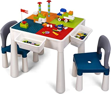 amzdeal Kids Activity Table Set Table and Chairs Set with Storage, 360 Pieces Building Blocks Compatible Bricks Toy, Building