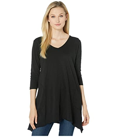 Mod-o-doc Slub Jersey 3/4 Sleeve V-Neck Tunic with Pockets (Black) Women