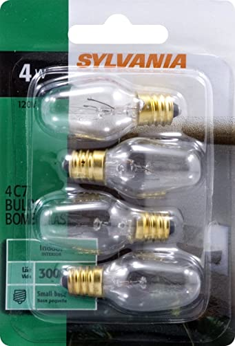 SYLVANIA 620981 Home Lighting 13549 Incandescent Bulb, C7-4W-2850K, Clear Finish, Candelabra Base, Pack of 4