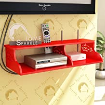 Home Sparkle TV Entertainment Unit | Wooden Carved Wall Shelf for Set Top Box and WiFi (Red)