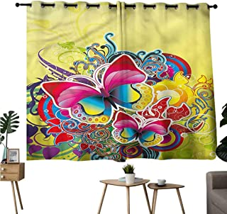 Gabriesl reducing Noise Darkening Curtains Grommets Curtain Door Panel Abstract,Colorful Spring Butterfly Privacy Assured Window Treatment W55 x L39