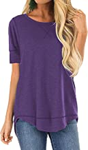 OURS Women's Casual Short Sleeve T-Shirts Cotton Tee Tops Loose V-Notch Tunic Tops