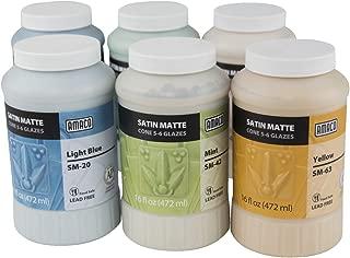 AMACO Satin Matte Glaze Classroom Pack 2, Assorted Colors, Set of 6 Pints
