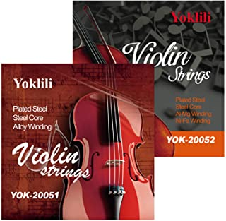 2 Pack Violin Strings, Full Size 4/4 Scale Solid Steel Core String with Ball End E A D G