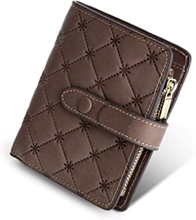 Yafeige Women's RFID Blocking Small Compact Leather Wallet Trifold Ladies Zipper Pocket Wallet Coin Purse