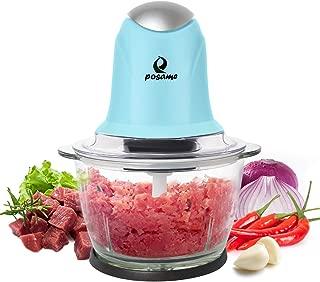 POSAME Meat Grinders Electric Food Processor,Mini Kitchen Food Chopper Vegetable Fruit Cutter Onion Slicer Dicer, Blender and Mincer, with 4-Cup Glass Bowl (Blue)