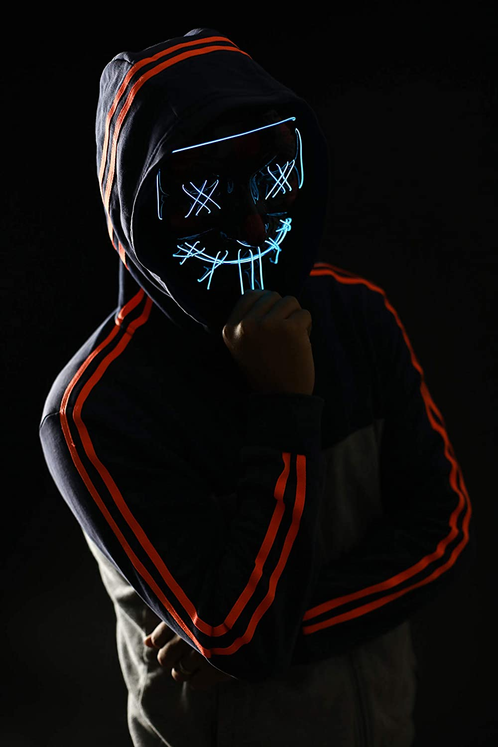 Light Up Mask Scary Mask for Halloween Festival Party Sound Induction Flash with Music Speed