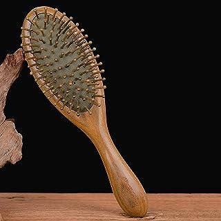 Hårkam, Szczotka do włosów, zielony grzebień z drzewa sandałowego grzebień do masażu antystatyczny, garnitur do kręconych,...