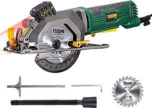 TECCPO - Mini sierra circular, velocidad de rotación de 3500 rpm, con Laser, ángulo ajustable de 45 °, 115 mm, hoja de motor de alambre de cobre puro, mejor elección para cortar la madera -TAMS24P