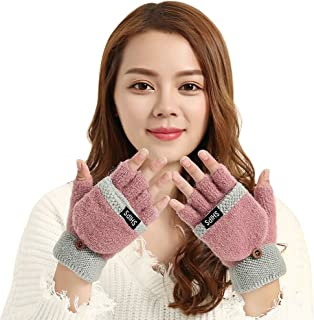 Womens Girls Winter Warm Wool Knit Fingerless Convertible Gloves w/Mitten Cover