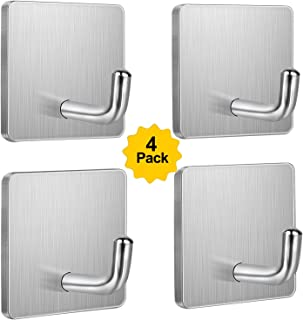 Budding Joy Adhesive Hooks Heavy Duty Stick on Wall Door Cabinet Stainless Steel Towel Coat Clothes Hooks Self Adhesive Holders for Hanging Kitchen Bathroom Home 4 Pack