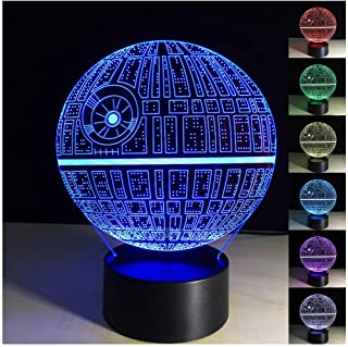 Death Star 3D Optical Illusion Lamp 3D Death Star Lamp Led Night Light Lamp 3D Illusion Led Desk Table Lamps for Living Room(Death-Star)