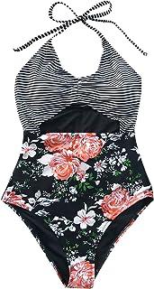 CUPSHE Mujeres Floral Stripe Printing Halter Traje de baño de una Pieza Bikini de Talle Alto Monokini
