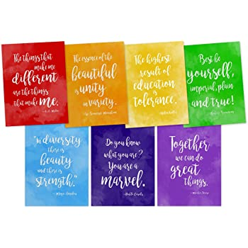 Amazon Com Rainbow Of Diversity Motivational Posters Set Of Seven Inspirational Art Prints Featuring Quotes From Maya Angelou A A Milne Mother Teresa Helen Keller And More Posters Prints
