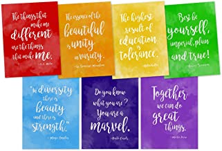 ECHO-LIT, LLC Rainbow of Diversity Motivational Posters Set of Seven Inspirational Art Prints Featuring Quotes from Maya Angelou, A.A. Milne, Mother Teresa, Helen Keller and More