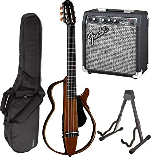 Yamaha SLG200N Nylon Silent String Acoustic Electric Guitar (Natural) bundled with the Fender Frontman 10G Electric Guitar Amplifier, Gigbag, and Guitar Stand