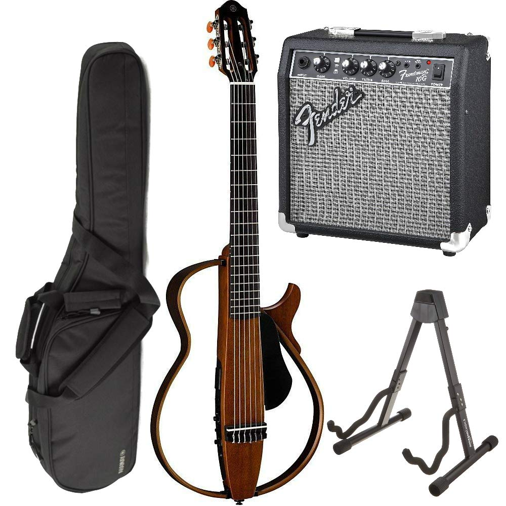Cheap Yamaha SLG200N Nylon Silent String Acoustic Electric Guitar (Natural) bundled with the Fender Frontman 10G Electric Guitar Amplifier Gigbag and Guitar Stand Black Friday & Cyber Monday 2019