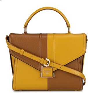 Women's Yellow and Brown Leather Satchel