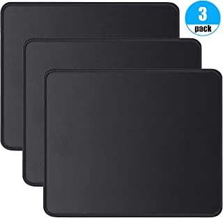Foroffice 3 Pack Mouse Pad with Stitched Edge, Computer Mouse Pad with Non-Slip Rubber Base, Washable Mousepads Bulk with Lycra Cloth, Mouse Pads for Computers Laptop Mouse 10.2x8.3x0.12inch Black