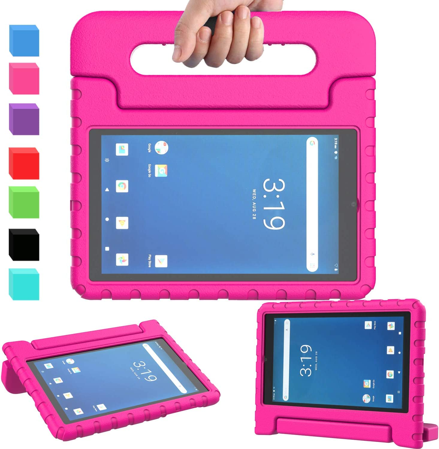 """AVAWO Onn 7 inch Tablet Case, Surf Onn 7"""" 2019 & 2020 Kids Case, Light Weight Shock Proof Convertible Handle Stand Kids Friendly Case for Onn 7inch Android Tablet (2019 & 2020 Release), Rose"""
