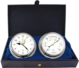 "MASTER-MARINER Patriot Collection, Nautical Cabin Gift Set, 5.75"" Diameter Clock and Barometer Instruments, Chrome Finish, Ivory Patriot dial"
