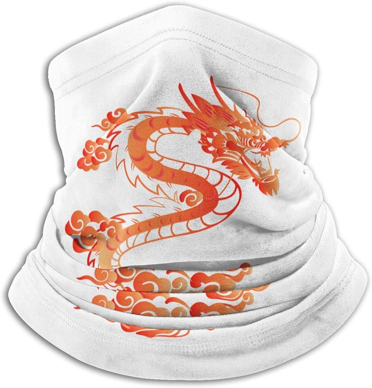 Winter Neck Gaiter Warmer Soft Face Mask Scarf red Chinese Dragon Outdoor Sports Neck Warmer Headwear for Men Women