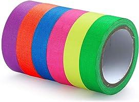 Neonplakband, kleurrijk, 6 stuks, 15 mm x 5 m, fluorescerend plakband, geweven band, Gaffa-tape, zwart licht, kleur...