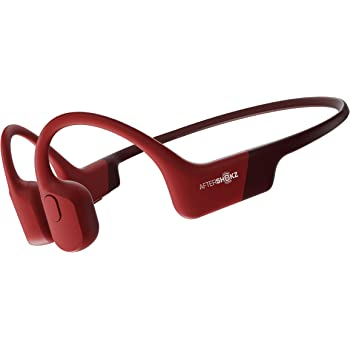 AfterShokz Aeropex Open-Ear Wireless Bone Conduction Headphones, IP67 Rated, Solar Red