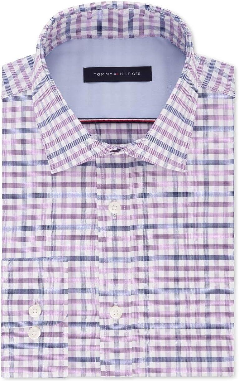Tommy Hilfiger Mens Purple Plaid Collared Classic Fit Dress Shirt L 16-32/33