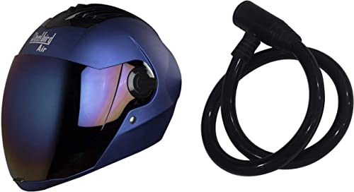 Steelbird SBA-2 Matt Full Face Helmet with Iridium Blue Visor (Blue, 580 mm) & SteelBird Cable Lock for Helmet (Black)