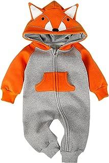 Bebone Hooded Fleece Romper for Baby Girls Boys Cartoon Animal Fox Jumpsuit