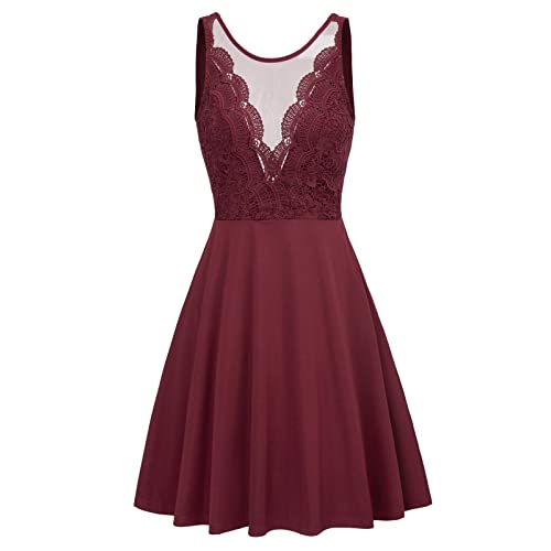 a883f90dc0 GRACE KARIN Women Sleeveless Lace Patchwork Open Back A Line Flare Party  Dress