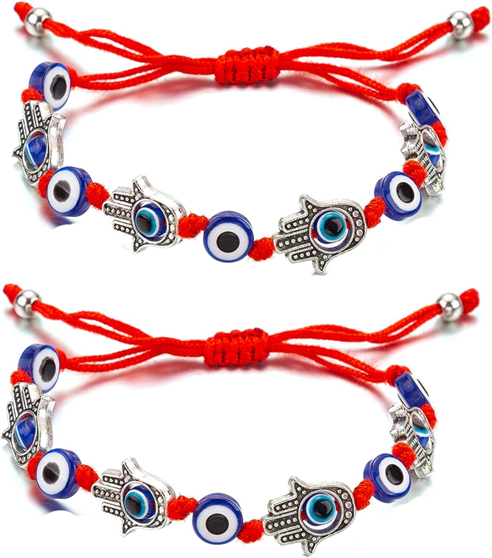 kelistom Kabbalah Multi Evil Eye Hamsa Hand Red String Bracelet